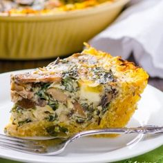 Kale and Mushroom Spaghetti Squash Quiche. Trying tonight, we'll see if it stays pinned.
