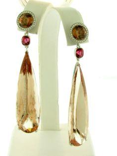 ashok sancheti jewelry   Ashok Sancheti - Platinum earrings featuring Morganite drops (81.15 ...