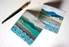 Set of two different square greeting cards - illustrations by Valériane Leblond
