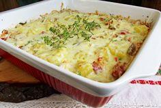 Retete Culinare - Budinca de cartofi cu piept de pui si smantana
