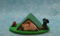 Camping theme wedding cake topper