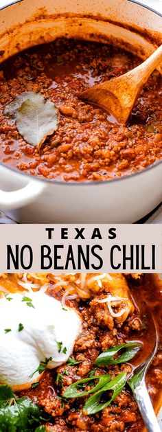 This thick and heartyNo-Beans Chiliis deeply flavored thanks to an authentic blend of spices, plenty of tomatoes, and a generous portion of ground beef. You'll love the sizzling Southwest flavor of this meaty, no-beans chili recipe! #chili #nobeanschili #texaschili