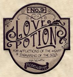 Love Potion Apothecary Label | Urban Threads: Unique and Awesome Embroidery Designs