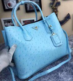 Prada Ostrich Leather Tote Bag BN2756 SkyBlue 0c1615d897d2a
