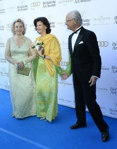 (L-R) Marianne Bernadotte, Swedish Queen Silvia and king Carl XVI Gustaf attends the Bernadotte Art Awards, Grand Hotel, Stockholm, 2014-06-02