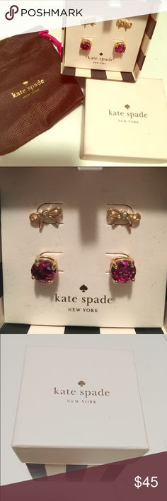 Kate Spade earring set New in box! Beautiful set of 2 pairs of Kate Spade earrings. Gold bows & purple studs. 100% authentic. Comes with box & small Kate Spade baggie. Never worn or even tried on. kate spade Jewelry Earrings
