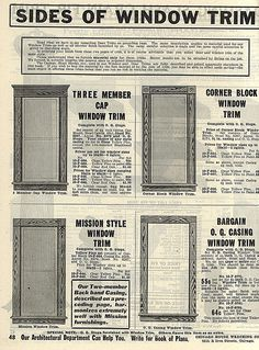Examples of a window trim 1913
