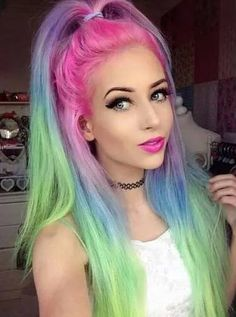 #Rainbow #Hair #Beauty.     For more great pins go to @KaseyBelleFox
