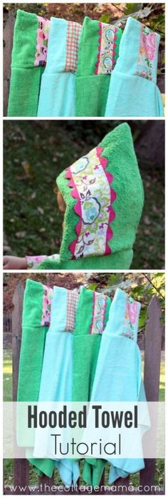 Embellished Hooded Towel Tutorial FREE Pattern and Tutorial from The Cottage Mam. Embellished Hooded Towel Tutorial FREE Pattern and Tutorial from The Cottage Mama Baby Sewing Projects, Sewing For Kids, Sewing Hacks, Sewing Tutorials, Diy For Kids, Sewing Crafts, Sewing Patterns, Hooded Towel Tutorial, Hooded Bath Towels