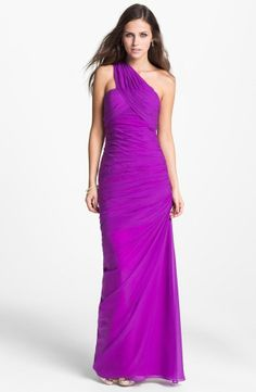 RADIANT ORCHID PROM Pageant Bridesmaid Dalia MacPhee One Shoulder Chiffon Gown 2