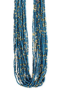 ZAD Multi-Strand Seed Bead Necklace In Teal