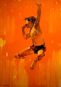 """Leo's Birthday Oil on canves. 70""""x 48"""" (178cm x 122cm) by Canadian artist Costa Dvorezky. Uses a monochromatic color scheme of orange."""