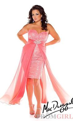 Mac Duggal - Neon Coral Hi-Low Plus Size Prom Dresses Online Cute Prom Dresses, Long Prom Gowns, Grad Dresses, Prom Dresses Online, Junior Dresses, Modest Dresses, Pageant Gowns, Short Prom, Party Dresses