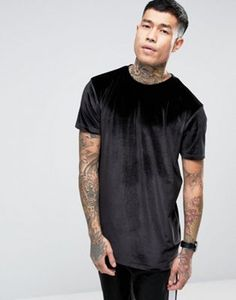 ASOS Longline Velour T-Shirt In Black