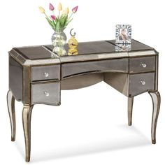 Mirrored writing desk with antiqued golden trim and a French Regency-style silhouette. Product: Writing desk Construction Material: Wood and glass Color: Antique silver and gold Features: Scratch-resistant mirror panels Dimensions: 30 H x 45 W x 20 D Mirrored Furniture, Dining Furniture, Mirrored Bedroom, Furniture Ideas, Refinished Furniture, Dream Furniture, Furniture Refinishing, Funky Furniture, Furniture Storage