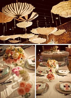 i love the umbrella idea.soo adorable for a wedding/baby shower/party Honey Chicken Kabobs, Party Central, Deco Table, Wonderwall, Shower Party, Shower Time, Holidays And Events, Event Decor, Baby Love