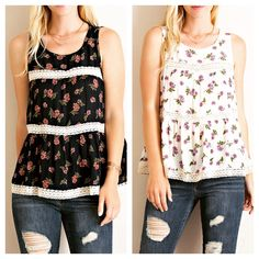 Floral tank with tape lace trim. Summer here we come!!  www.shopartifactsgallery.com