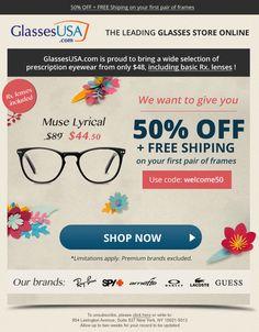 GlassesUSA email design Email Design, Web Design, Landing, Sunglasses Case, Design Web, Website Designs, Site Design, Email Newsletter Design