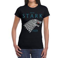 Camiseta Mujer juego de Tronos casa Stark Diseño Brillo de SportShirtFactory en Etsy