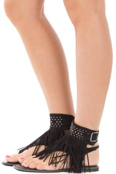 Lime Lush Boutique - Black Cuffed Ankle Sandal with Fringe and Studded Details, $44.99 (https://www.limelush.com/black-cuffed-ankle-sandal-with-fringe-and-studded-details/)