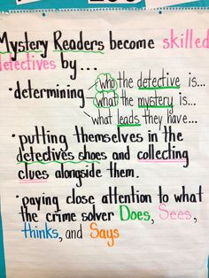 Mystery reading unit anchor chart -- Mystery Readers become skilled detectives… Classroom Charts, Classroom Resources, Classroom Ideas, Book Club Books, Book Clubs, Reading Anchor Charts, Third Grade Reading, Reading Strategies, Reading Genres