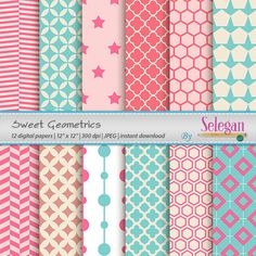Sweet Geometrics, Digital Paper, Scrapbooking, Paper, 12x12,Printable,Seamless,Pattern, Geometric, Texture, Quatrefoil, Background, Download by Selegan on Etsy