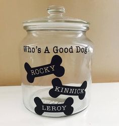 Dog Crafts, Animal Crafts, Pet Craft, Vinyl Crafts, Dog Treat Container, Dog Treat Jar, Homemade Dog Treats, Pet Treats, Dog Room Decor