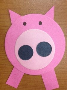 Pig Craft - could incorporate shape recognition when doing this craft for storytime.