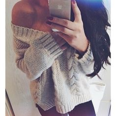 Fall Outfit - Thick Knit Sweater - Leggings