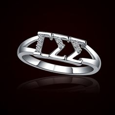 Looks like I finally found my sorority -Sigma Delta Tau. Doesn't it look like it says EAT, or was I just hungry when I saw it? Gamma Sigma Sigma, Alpha Sigma Alpha, Delta Zeta, Greek Symbol, Greek Gear, Sorority Life, Lab Created Diamonds, Greek Life, Silver Ring