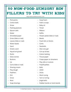 50 non-food sensory bin fillers to try with kids {free printable} from And Next Comes L