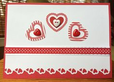 Red Happy Valentine's Day Handmade Card With 3 Hearts and Buttons-White and Red by TreasureIslandCards on Etsy
