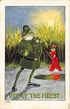 """Frog Policeman Hot Frog Woman """"One Of The Finest"""" Signed D. R. """"Emerald Isle"""" #115. 