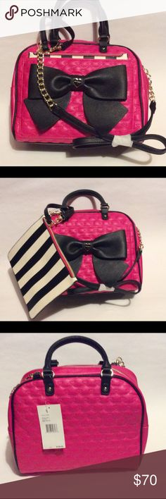 """Betsey Johnson Bow Dome Satchel Removable Pouch Betsey Johnson Bow Dome Satchel With Removable Pouch   ~ Black/White/Fuchsia with Gold-tone hardware.  ~ 2 inside slip pockets, 1 inside zipper pocket ~ Dual handles, removable shoulder straps w/ 22.5"""" drop ~ Exterior front slip pocket w/removable pouch 9"""" x 7.3"""" ~ 11.5"""" x 9"""" x 5.5""""  New with tags Betsey Johnson Bags Satchels"""
