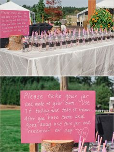 I kind of love this idea.  Use chalkboard labels on one side so they can write their names.  Use perm. marker on the other side to write a Jade + Mike logo.  Time intensive, but covers favors & cups.  I've seen using cupcake liners for lids too - could find silver and yellow ones?