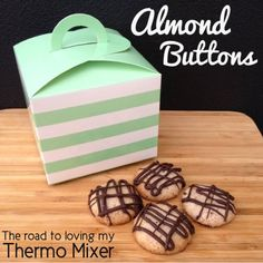 Almond Buttons made easily in your thermomix or food processor. Almond Macaroons, Almond Cookies, Weetbix Slice, Caramel Biscuits, Thermomix Desserts, Melting Chocolate, Tray Bakes, Food Print, Mixer
