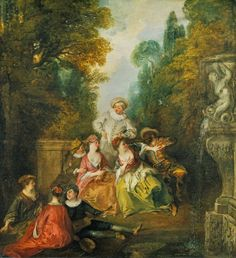 Nicolas Lancret's 'Italian Comedians By a Fountain,' ca. 1717-1718, The Wonderful Bright Colors Give You the feeling of Lightness and Frivolity Scene in the 'fête galante' Style Featuring Commedia Dell'arte Figures in the Manner of Watteau. *Rococo Revisited.