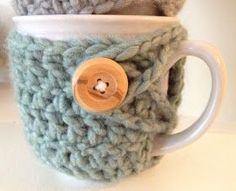 DIY cup cozy! Here's a small breakdown of how to make these:  Chain enough stitches to wrap around the base of your mug (in my case, 30). Join into firs...