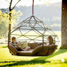 Geodesic Hanging Pod by Kodama ZomeThe perfect outdoor swing to hand out in!Features:Includes- Zome structure, mattress, wrap- around cushions, large back cushion and throw pillowsCanvas Upholstery FabricZippered CushionsDesigned to commercial specifications for resorts, hotels and the discerning homeownerMax Diameter: 6.5'Total Space Needed: 9.5' min diameter (for swinging)Unit Weight: 100 lbs. (includes structure, mattresses, and cushions)Maximum Allowed Load: 600 lbs. (3-4 adults)...