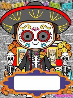 Calaverita charra Halloween Doodle, Halloween Clipart, Halloween 2020, Happy Halloween, Desenho Pop Art, Sugar Skull Art, Scrapbook, Dot Painting, Cute Illustration