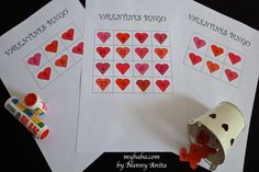 Valentines themed bingo game for school aged children. Valentine Bingo, Valentines Diy, Bingo Games, Fun Games, School Games, Make Your Own, How To Make, Counting, Day