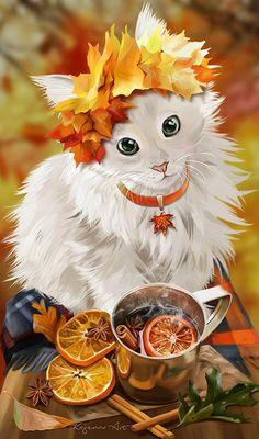 Mulled Wine by Kajenna Anime Animals, Cute Animals, Cat Anime, Art Mignon, Warrior Cats, Halloween Cat, Cat Drawing, Animal Paintings, Dog Art