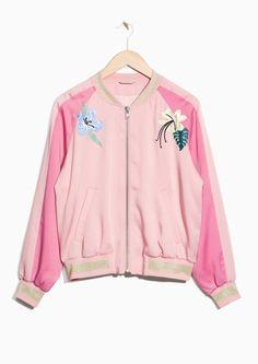 & Other Stories image 2 of Embroidery Bomber Jacket in Pink Pink Bomber Jacket, Embroidered Bomber Jacket, Adidas Jacket, Rain Jacket, Kids Fashion, Fashion Design, My Wardrobe, Ready To Wear, Windbreaker