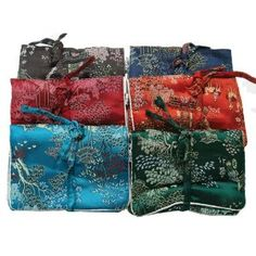 Chinese brocade fabric medium jewelry roll with ring holder - assorted colors  $7.50
