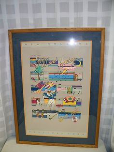 1984 SIGNED NEW ORLEANS JAZZ & HERITAGE FESTIVAL POSTER FRAMED & MATTED ONLY EIGHT HOURS LEFT $0.98