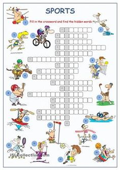 A crossword puzzle on practising/reinforcing/testing sport vocabulary. Key included. - ESL worksheets