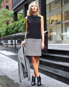 collared top with A line skirt