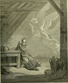Phillip Medhurst presents engravings after Gustave Doré in William A. Foster's Bible Panorama 093/140 : THE ANGEL GABRIEL APPEARS TO MARY. Luke I 28.