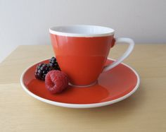 mid century cherry red demitasse cup and saucer by ionesAttic, $12.00