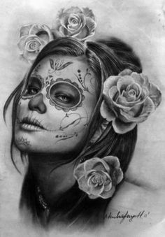 Buy The day of the dead, a Charcoal on Paper by minh hang from United States. It portrays: People, relevant to: people, portrait, realistic, Pop art, drawing In Southern California the Mexican celebrate the day of the death on November 1st and 2nd.
